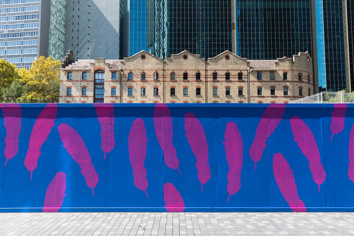 As The Crow Flies, a work in progress being painted at Barangaroo. Photograph by Daniel Boud, 2017