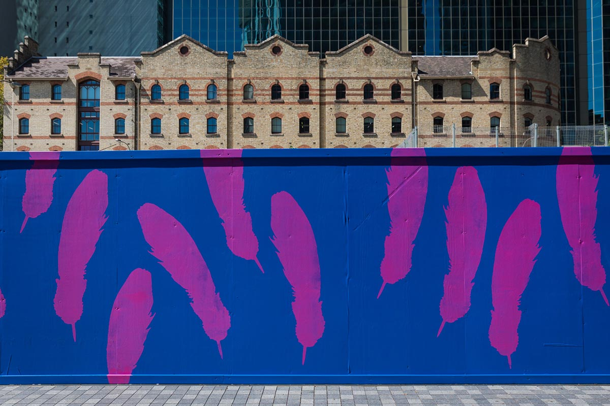 As The Crow Flies, a work in progress being painted at Barangaroo. Photograph by Daniel Boud