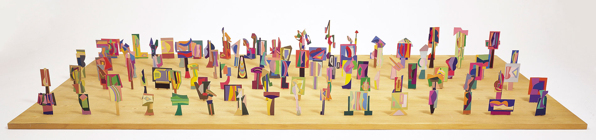 Robert Klippel 'Opus 363 Ninety-three constructions of coloured paper' (1980) Collage, coloured paper, cardboard, table base 98.6 x 184 x 83cm $350,000