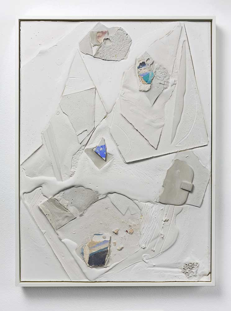 <em>Mason Kimber, Island/Relay, 2018</em><br /> sand, lime plaster, acrylic, gypsum cement<br /> 60.5 x 45 x 4.5cm (series of 3)<br /> Courtesy the artist, Galerie pompom, Sydney and Sophie Gannon Gallery, Melbourne