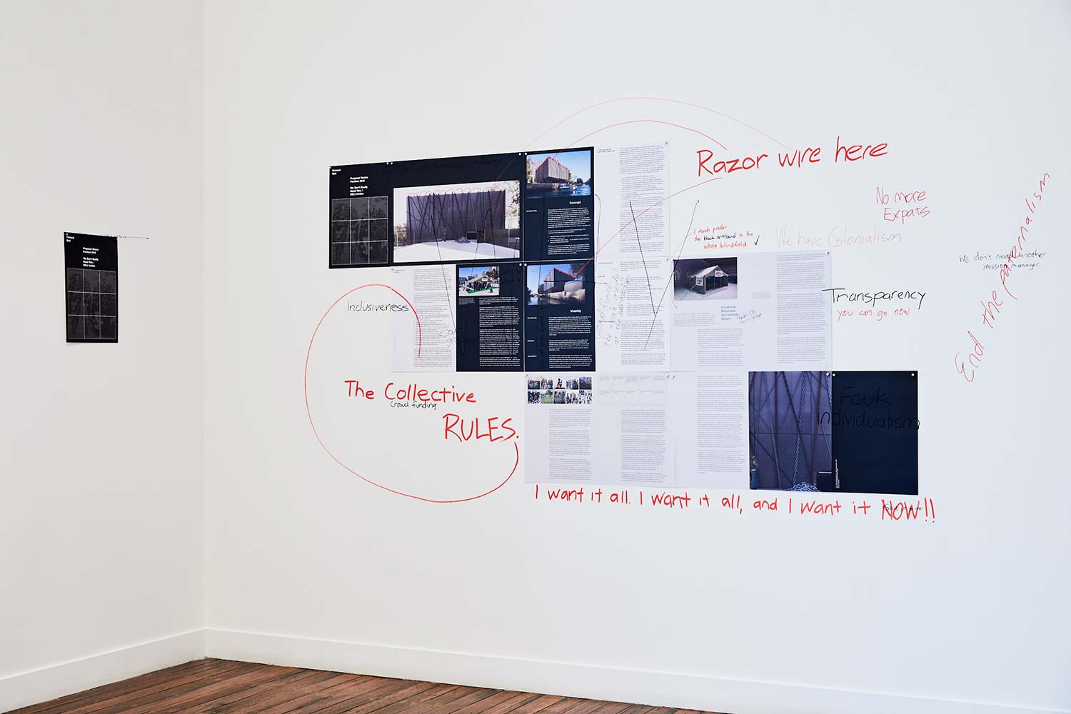 <em>Pericolo! Artisti al lavoro</em><br /> 2018 installation at National Art School Gallery<br /> digital prints, felt-tipped pen on wall<br /> Courtesy the artist and Milani Gallery<br /> Photo: Robin Hearfield